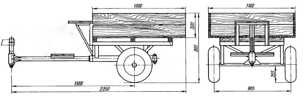 Телега для минитрактора чертеж