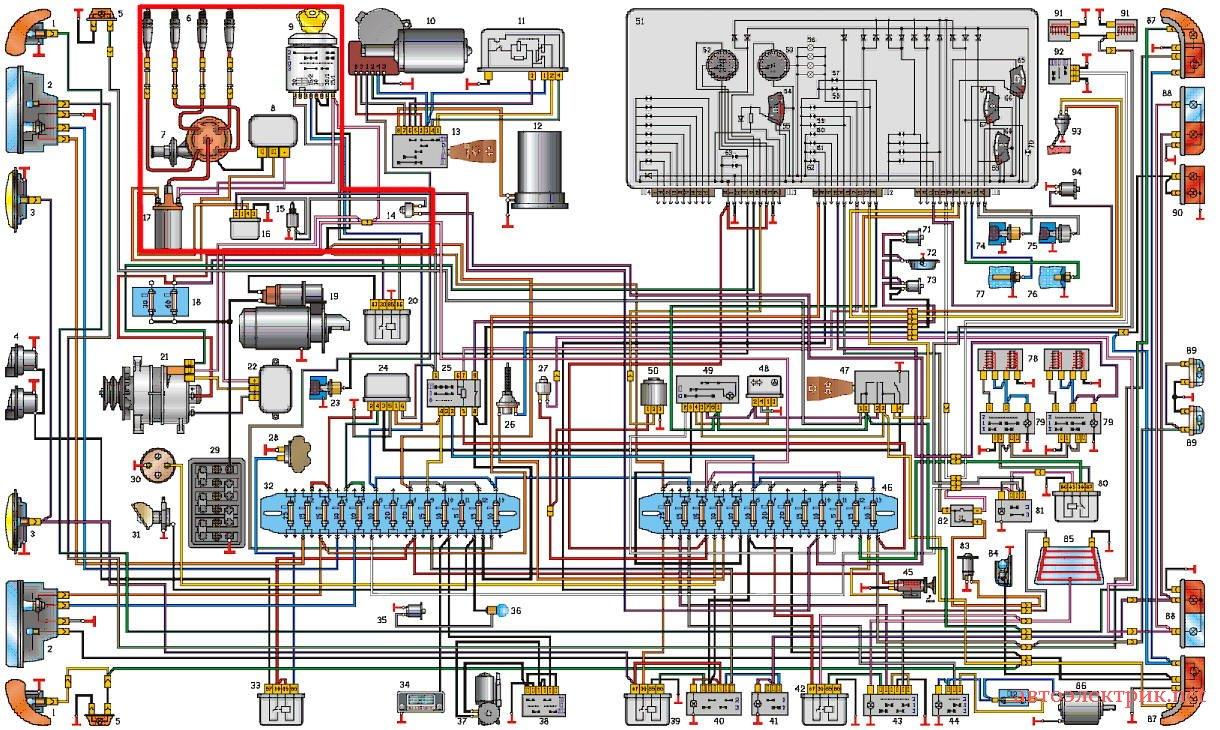Цветная эл схема газ 3307