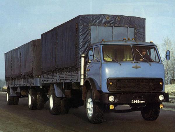 МАЗ 5334 с двумя прицепами