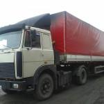 МАЗ 54329 красное брезентовое накрытие