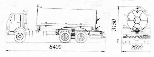 Размеры ассенизатора на шасси КамАЗ-65115