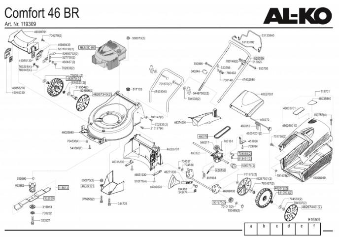 Запчасти к AL-KO Silver 46 BR Comfort BIO COMBI