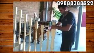 Установка деревянных перил на бетонную лестницу