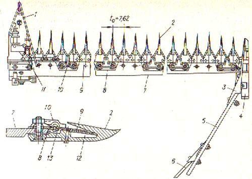 Исполнительный орган сегментно-пальцевого типа
