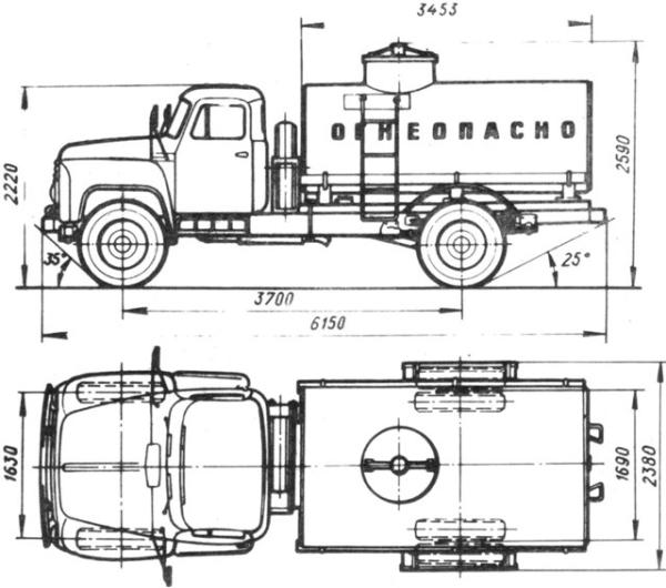 Бензовоз на базі ГАЗ 53: будову, технічні характеристики, фото і відео