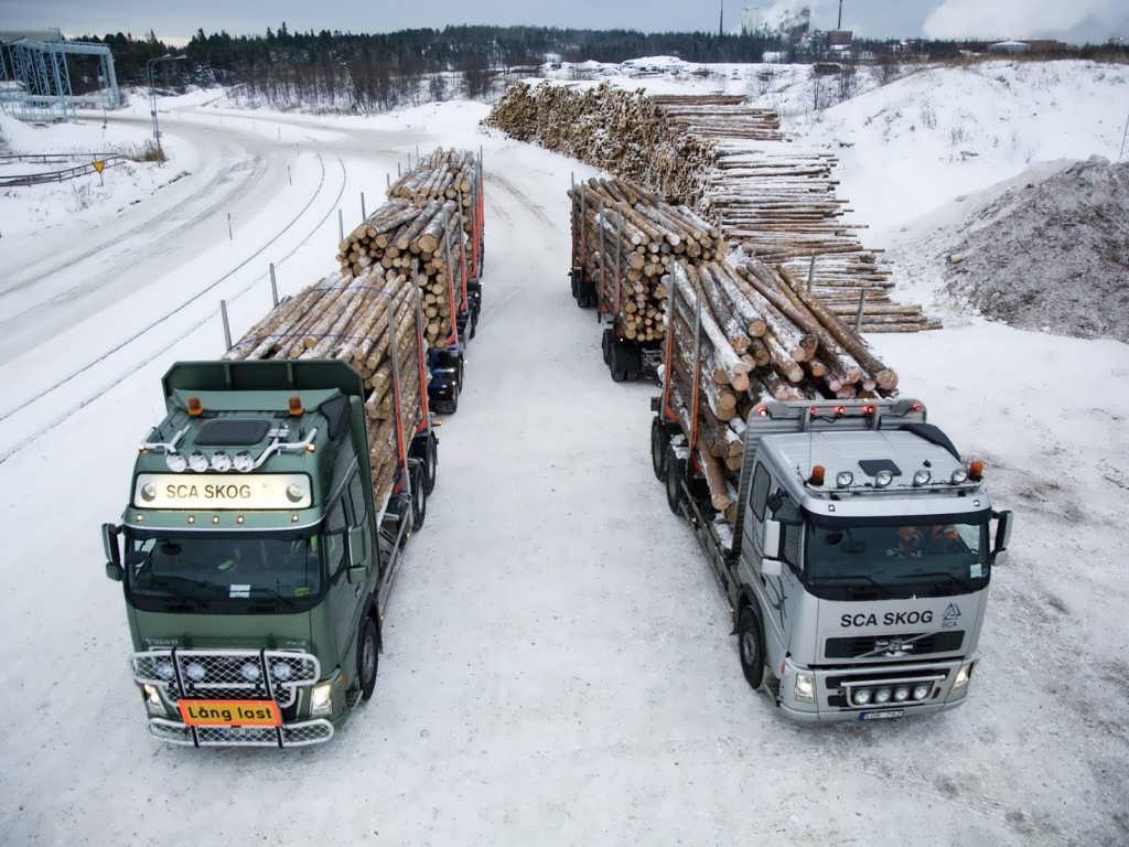 Лесовоз Вольво не боится холода
