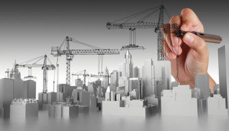 Руки drawn абстрактные здания — стоковое фото