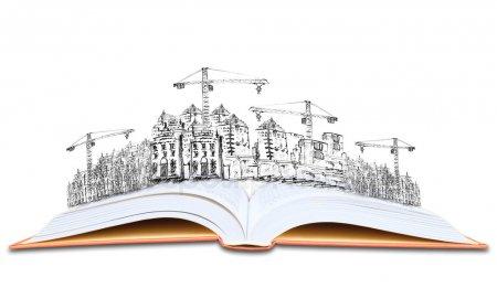 Открытая книга и строительство строительство знания архитектуры — стоковое фото