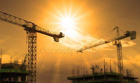 Кран и строительства — стоковое фото