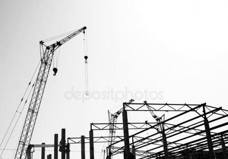 Силуэты строительства — стоковое фото
