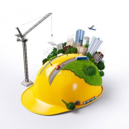 Город на строительном шлеме — стоковое фото