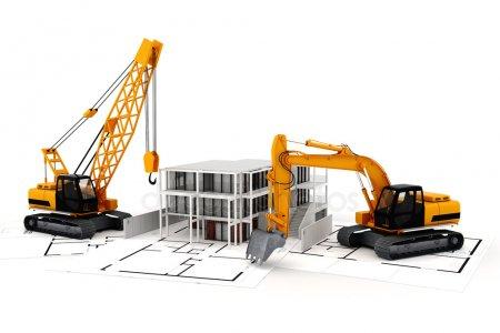 3D Визуализация концепции строительства, на белом — стоковое фото