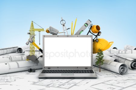 Ноутбук с пустым экраном и объект для строительства. Bluepr — стоковое фото