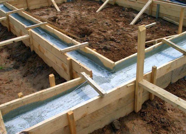 Ленточный фундамент после заливки бетоном