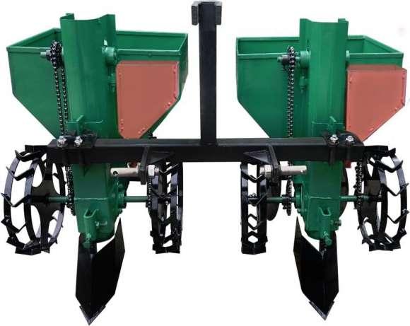 Картофелесажалка для минитрактора двухрядная с бункером для удобрений