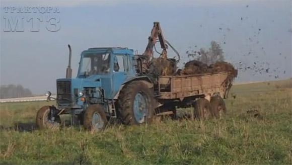 Разбрасыватель навоза для трактора