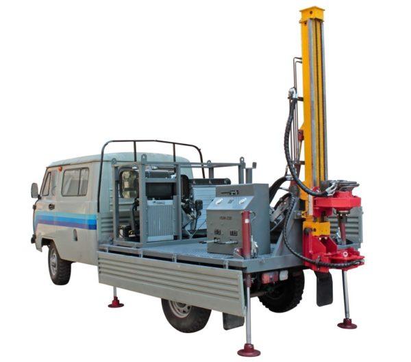 Установка на базе УАЗ способна пробурить тоннель на артезианский водяной горизонт.