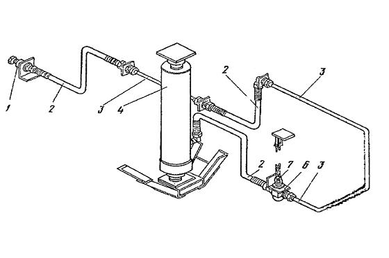 Схема подключения элементов гидросистемы